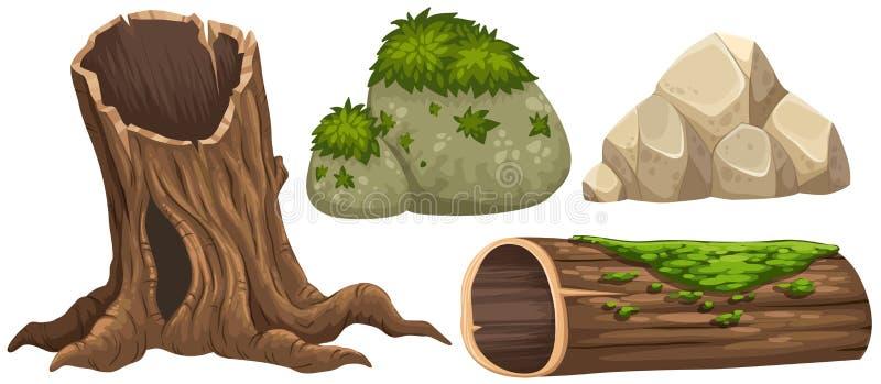 Ceppo e rocce con muschio sulla cima royalty illustrazione gratis