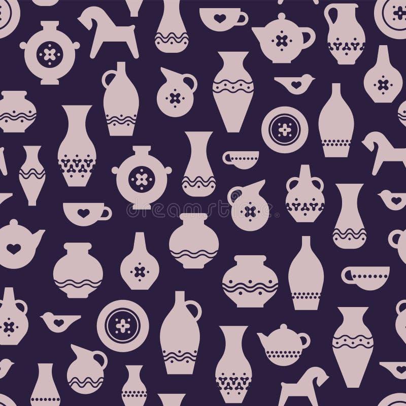 Cerámica del arte o modelo inconsútil de cerámica Floreros, placas, una taza, tetera stock de ilustración