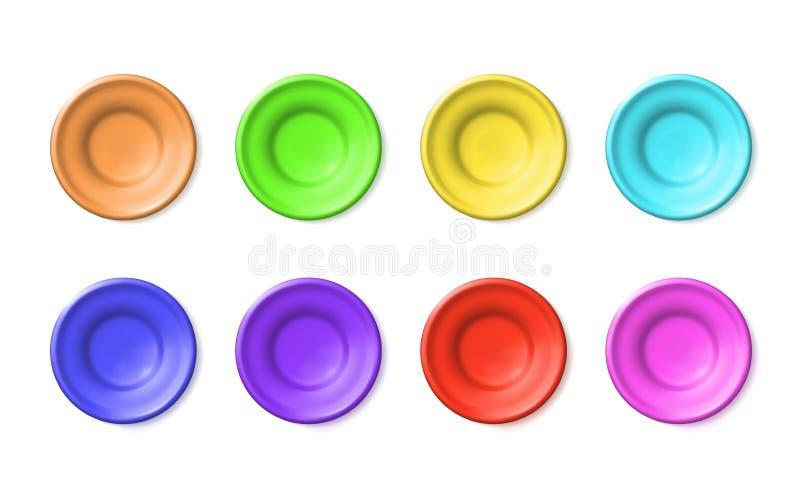 Cerámica multicolora de las placas determinadas del espacio en blanco de la arcilla o del plástico Botarga de cerámica del esmalt libre illustration