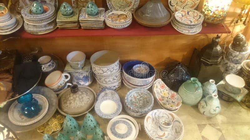 cerámica y joyería egipcias hechas a mano fotografía de archivo