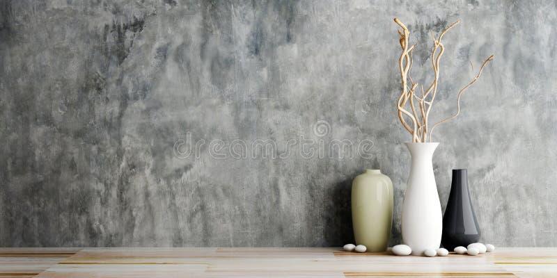 Cerâmica do vaso em de madeira e no muro de cimento ilustração royalty free