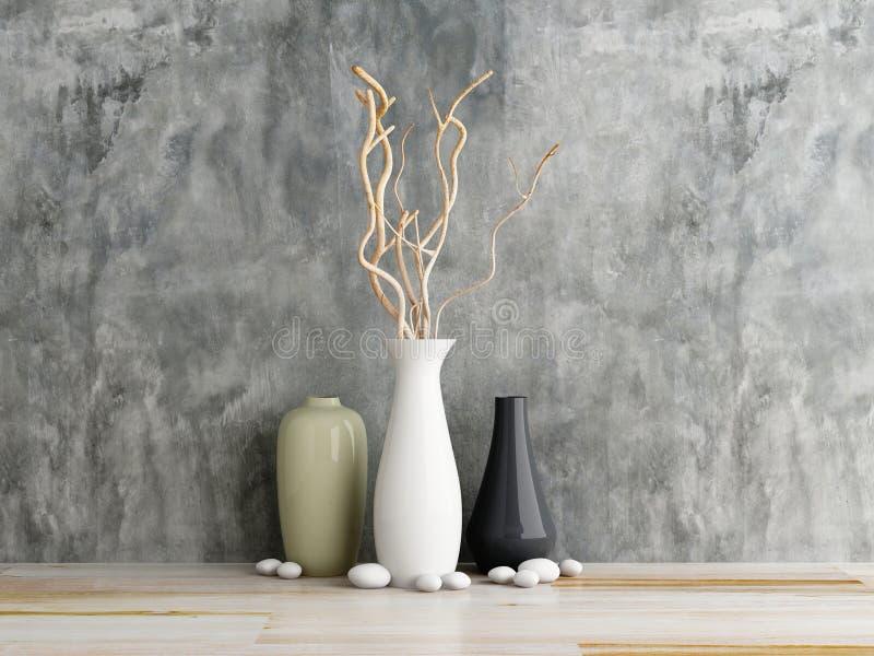 Cerâmica do vaso em de madeira e no muro de cimento ilustração do vetor