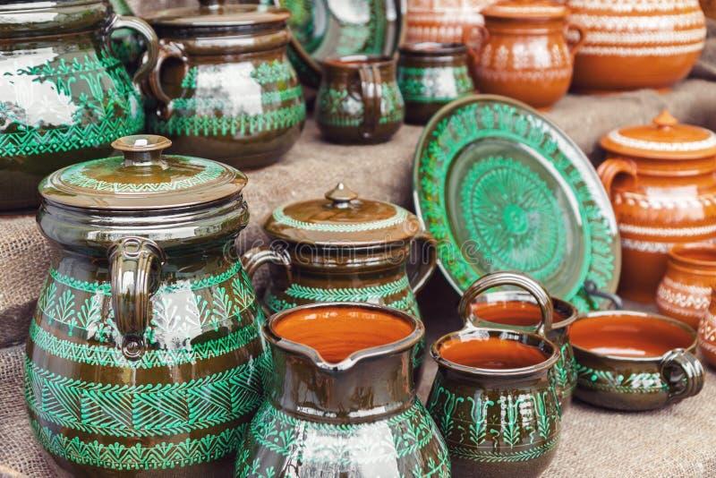 Cerâmica feito a mão para a venda imagens de stock