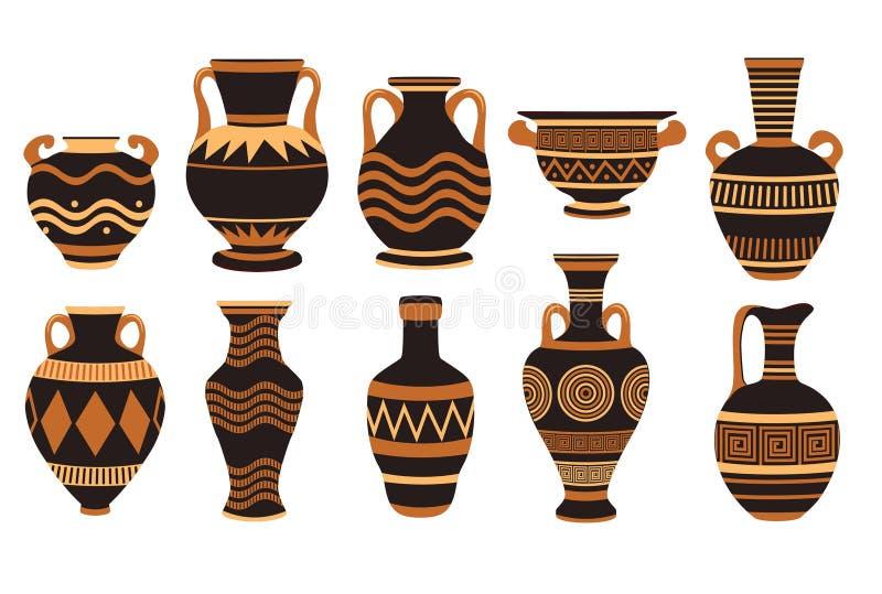 Cer?mica, ?nfora e greece do grego cl?ssico do vaso ilustração royalty free