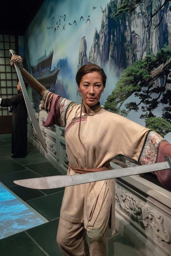 A cera trabalha tussauds estatueta da senhora, chinês famoso Hong Kong do caráter de Michelle Yeoh dentro imagem de stock