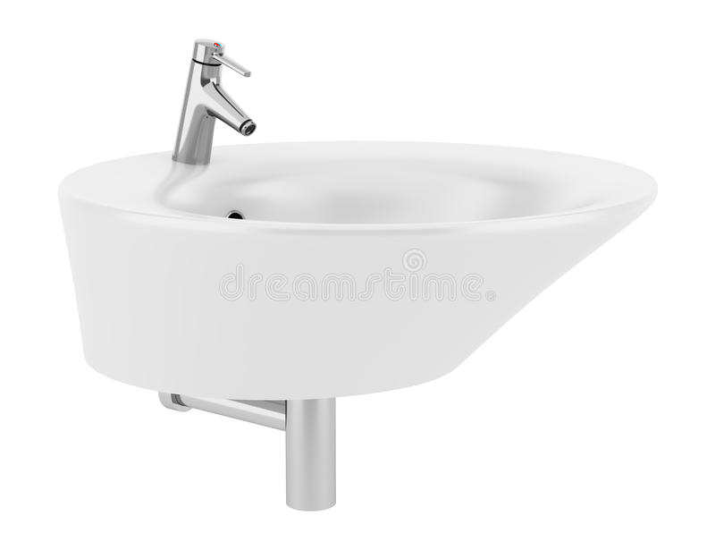 Ceramic bathroom sink isolated on white vector illustration