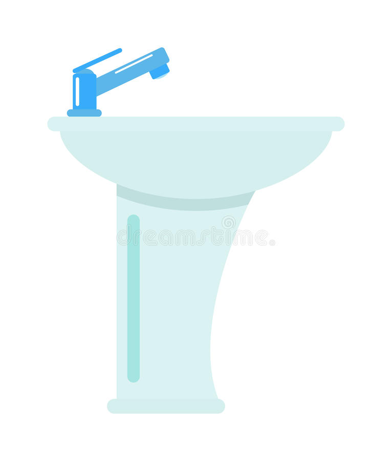 Ceramic bathroom washbasin on white background hygiene faucet sink vector icon. royalty free illustration
