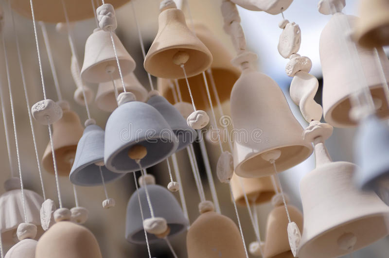 Ceramic Bells. Decorative ceramic bells wind chime stock photography