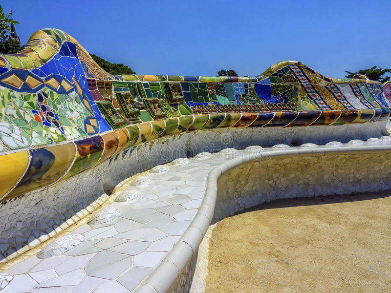 Ceramic bench at the Parc Guell designed by Antoni Gaudi, Barcelona, Spain. stock photos