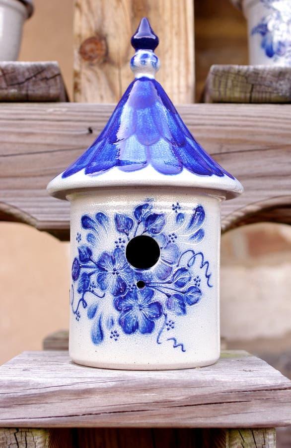 Ceramic Birdhouse with Blue and White Designs stock photos