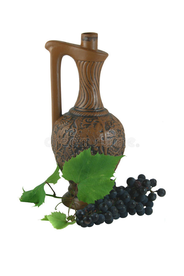 Download CERAMIC BOTTLE, GRAPES AND LEAFLET Stock Photo - Image: 11433276