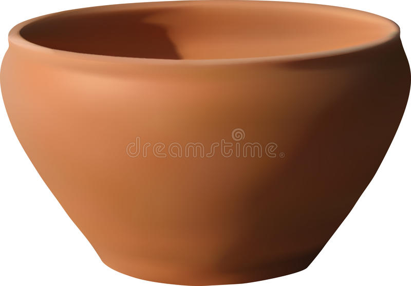Ceramic Bowl. Clay ceramic empty bowl lightening from left top side, it's vector drawing with mesh gradient, very realistic and layer, easy to modify and you may stock illustration