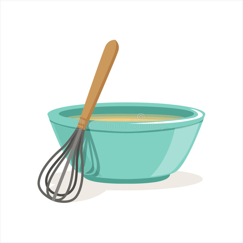 Free Ceramic Bowl Full Of Freshly Prepared Dough Vector And Whisk Illustration Royalty Free Stock Images - 93491629
