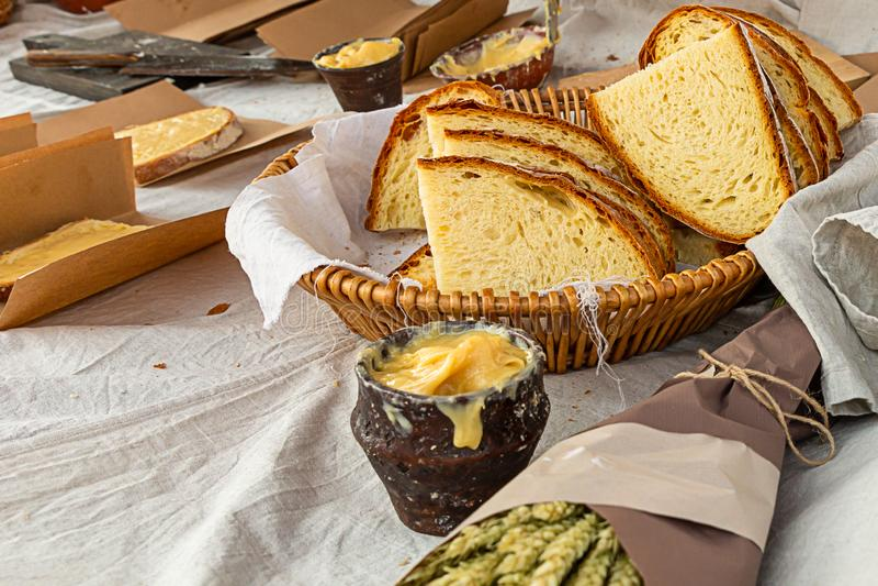 Ceramic bowl honey pot set slice bread rustic bakery background design culinary snack medieval nourishing stock photo
