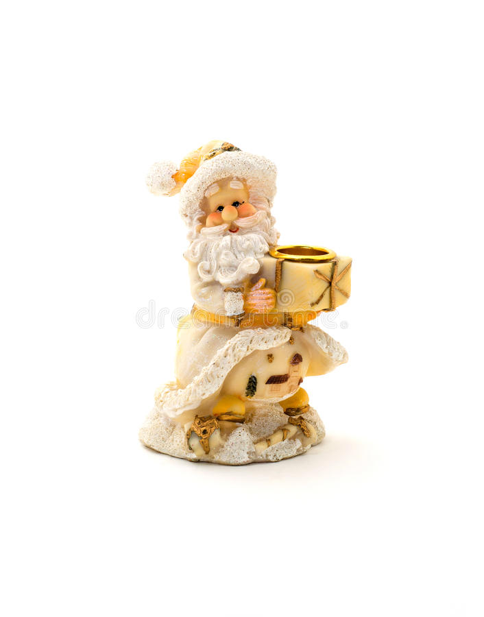 Ceramic candle holder in the form of Santa Claus. Ceramic candle holder in the form of Santa Claus on white stock images