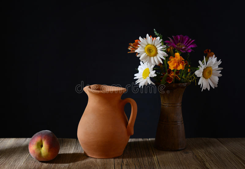 Download Ceramic Carafe, Peaches And Flowers In A Vase Stock Photo - Image: 42545786