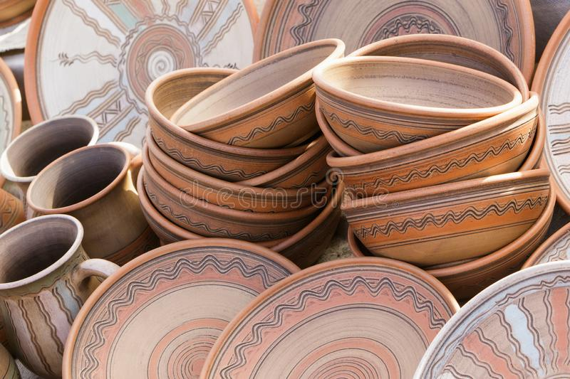 Ceramic clay plates and cups.  royalty free stock photo