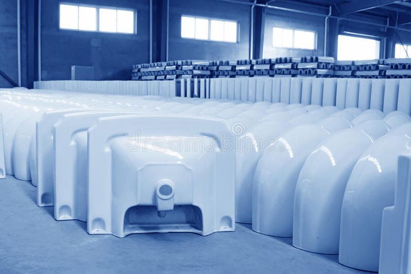 Ceramic closestool products. LUANNAN COUNTY OF HEBEI PROVINCE - OCTOBER 23: Ceramic closestool products assemblies in a warehouse of the ZhongTong Ceramics Co royalty free stock image