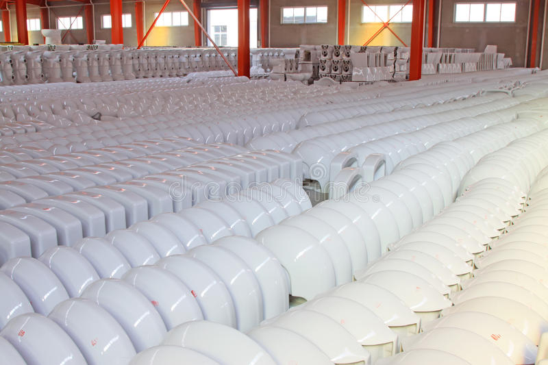 Ceramic closestool products. In a warehouse, in a factory stock photo