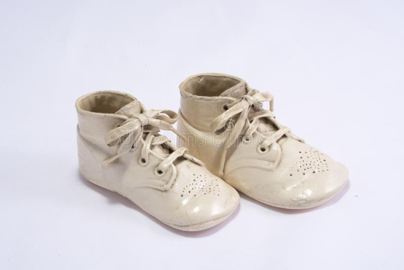 Ceramic coated baby shoes. stock photo