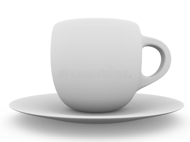 Ceramic coffee cup. In white. 3d illustration royalty free illustration