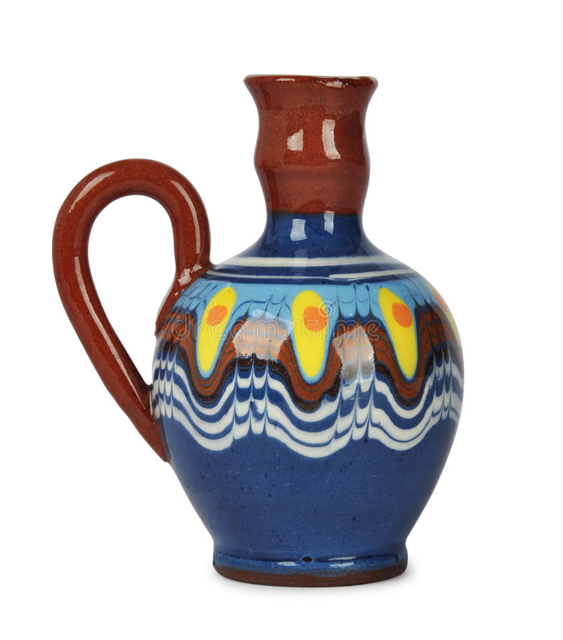 Ceramic crock. With traditional bulgarian ornament isolated on white backgraund. Bulgarian souvenir stock photography