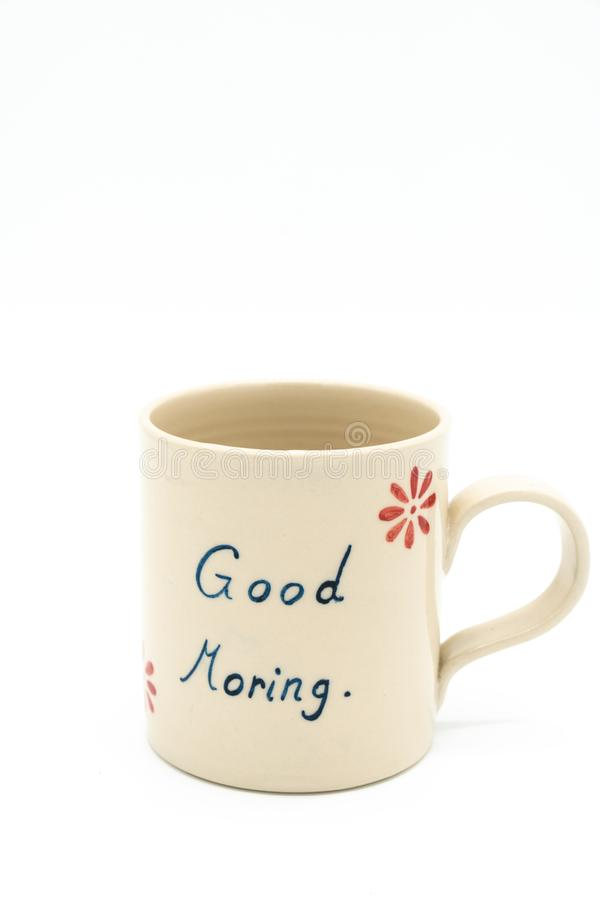 Ceramic cup with good morning.  stock image