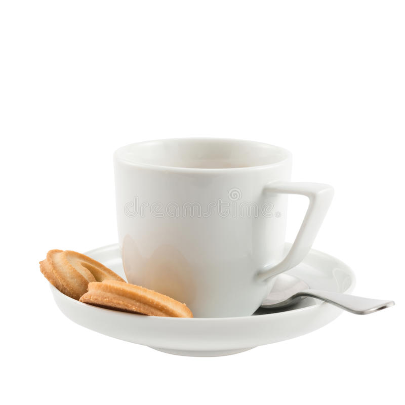 Free Ceramic Cup, Plate, Spoon And Butter Cookies Royalty Free Stock Image - 31324036