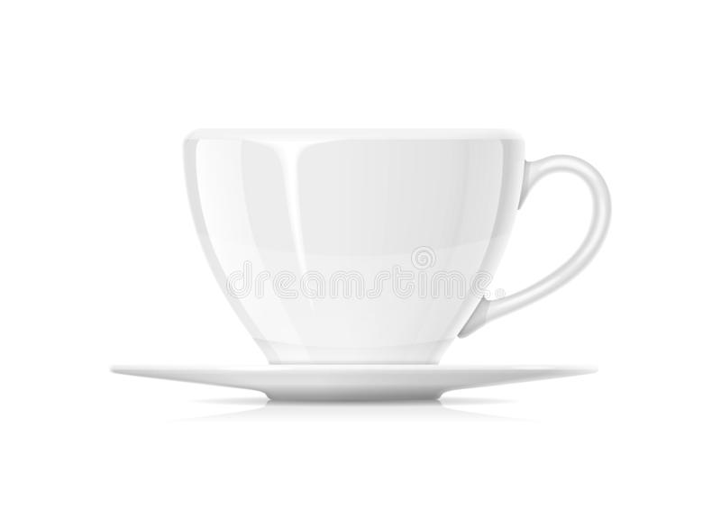 Ceramic cup for tea and coffee with plate. stock illustration