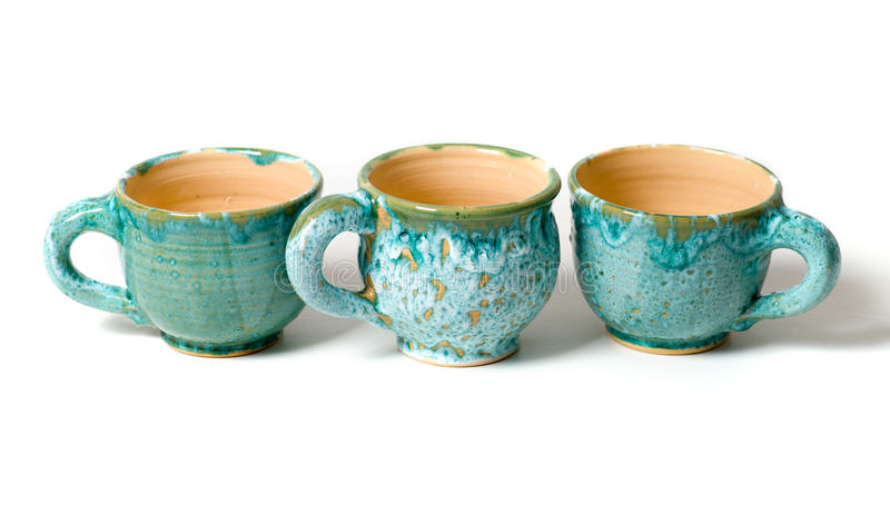 Ceramic cups in glaze royalty free stock image