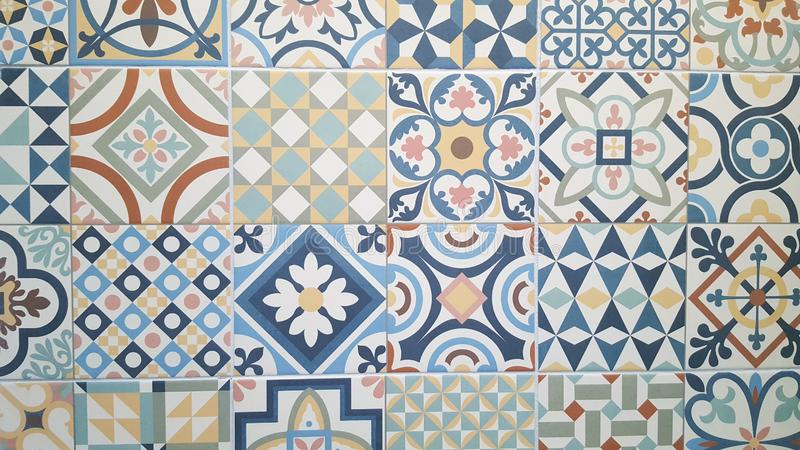 Ceramic decorative tiles azulejos patterns. From Portugal royalty free stock photography
