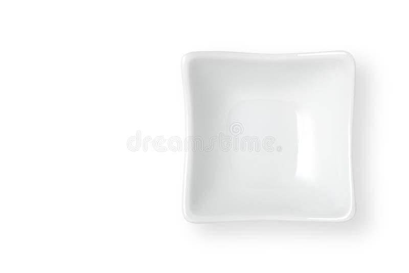Ceramic dish. Empty ceramic dish on a white background, Top view stock photo