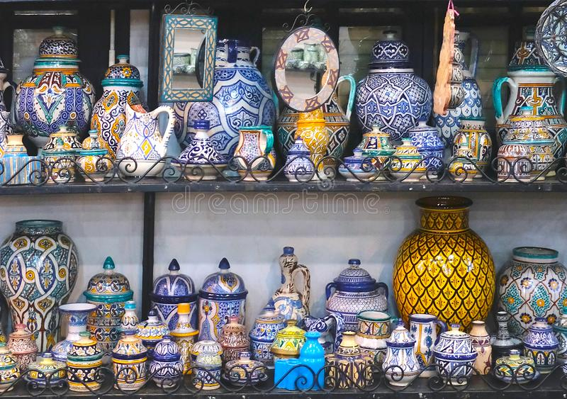 Ceramic dishes and other ceramic products made by Moroccan craftsmen by hand stock photo