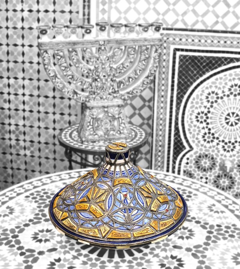 Ceramic dishes and other ceramic products made by Moroccan craftsmen by hand royalty free stock photo