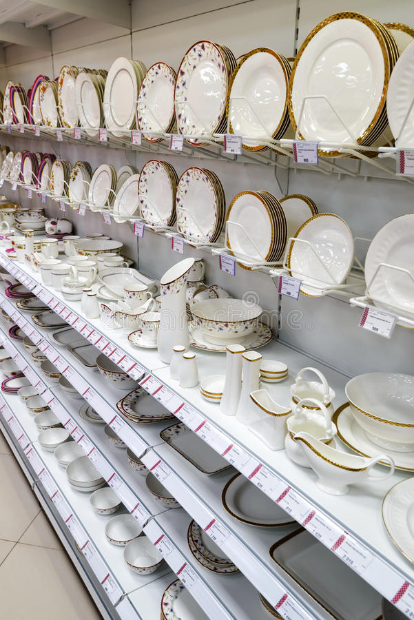 Ceramic dishes in a supermarket royalty free stock images