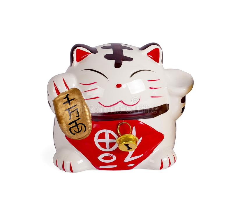 Ceramic doll Japanese welcoming lucky Cat. Maneki Neko :Japanese characters means good luck or fortune royalty free stock image