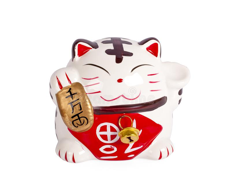 Ceramic doll Japanese welcoming lucky Cat. Maneki Neko :Japanese characters means good luck or fortune stock photo