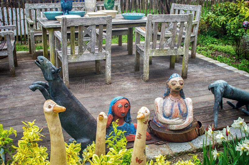 Ceramic dolls and pottery royalty free stock photo