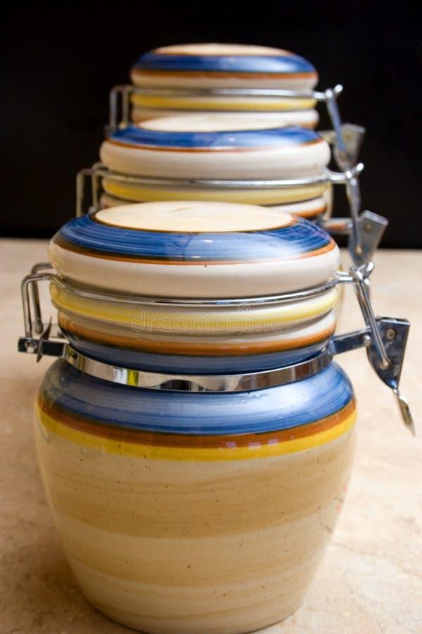 Ceramic food jars stock images