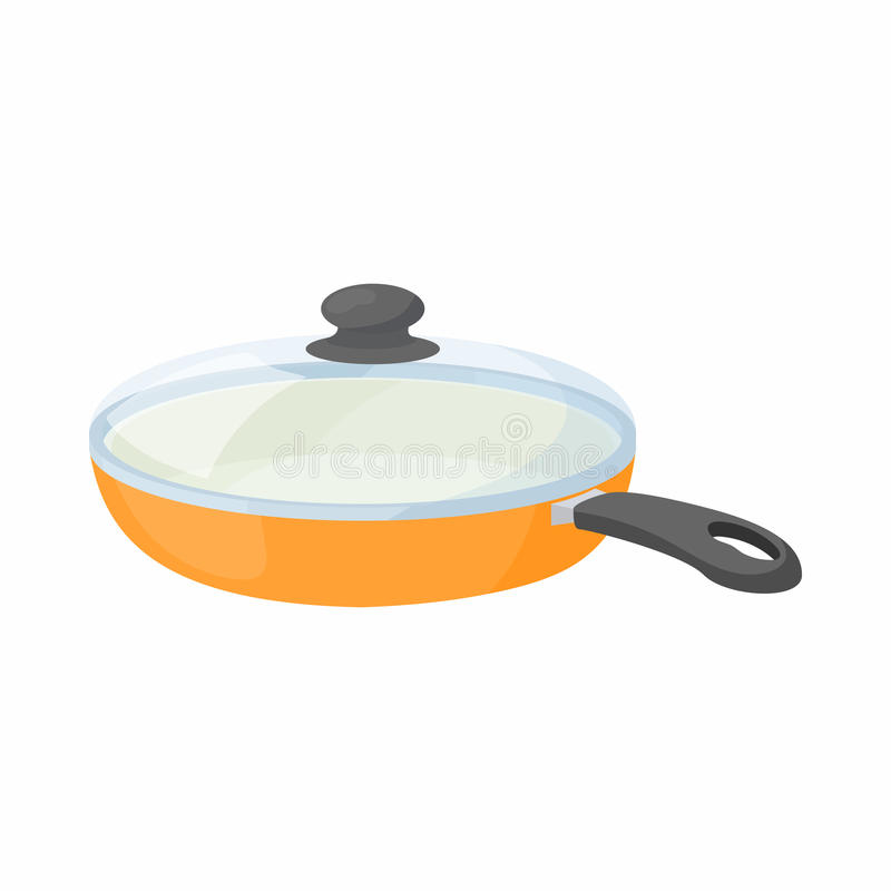 Ceramic frying pan with glass lid icon. In cartoon style on a white background royalty free illustration