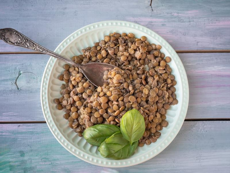 Plate with boiled lentils and a fresh sprig of basil close-up on a turquoise board tray with a tablespoon. Ceramic green plate with boiled lentils and a fresh royalty free stock photos