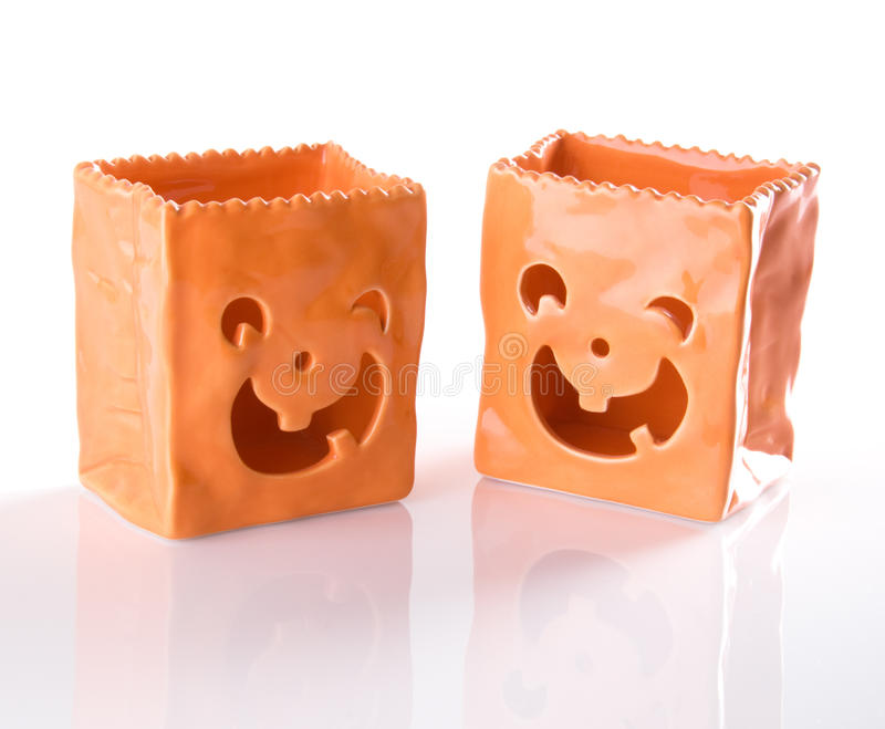 Download Ceramic Jack O Lantern Trick Or Treat Bags For Hal Stock Image - Image: 10503973