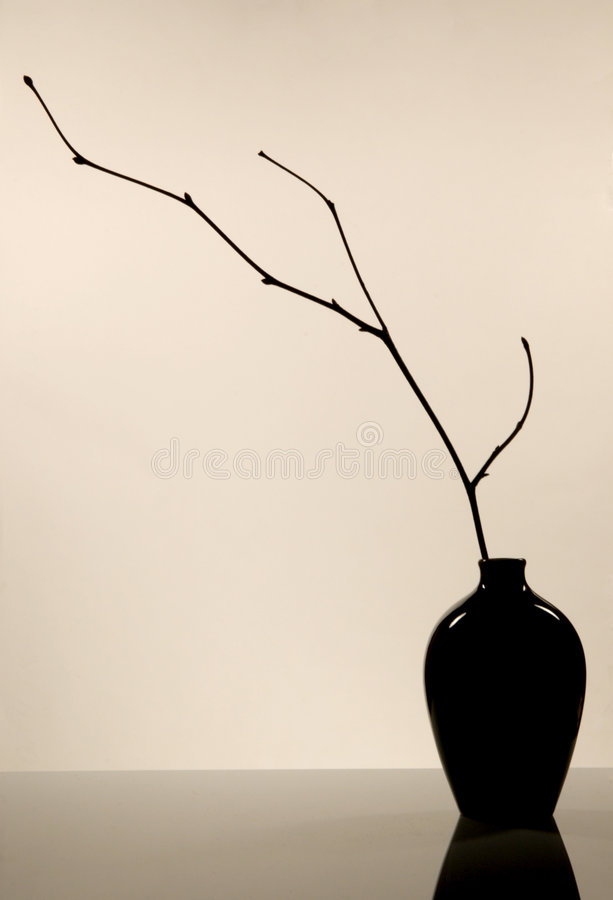 Ceramic jug. The ceramic jug with branch in the Japanese style stock photography