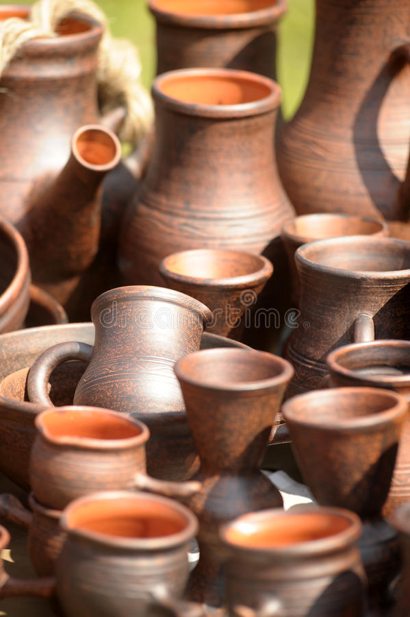 Ceramic jugs royalty free stock photography