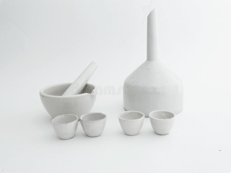 Ceramic laboratory ware. Covered with white glaze royalty free stock photo