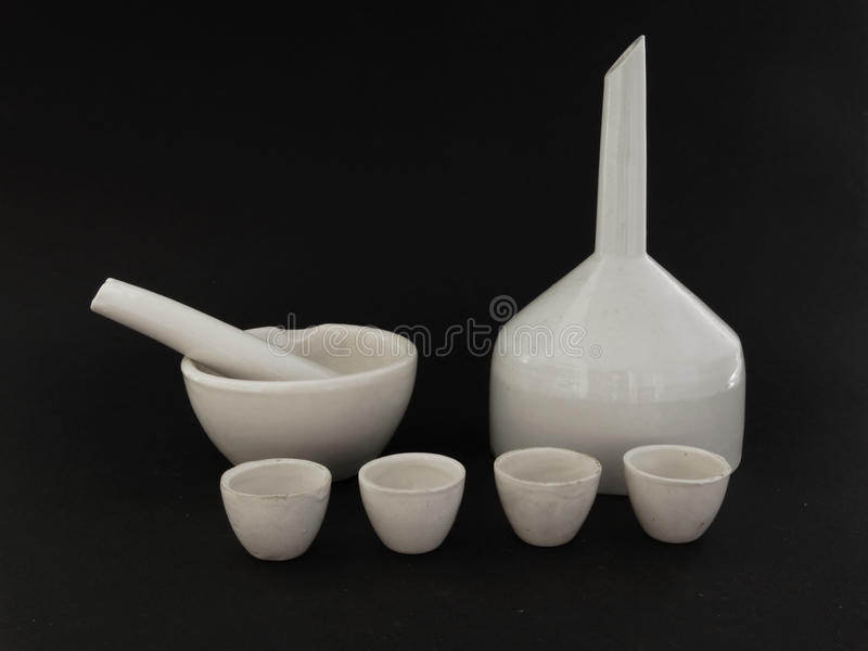 Ceramic laboratory ware. Covered with white glaze stock photos