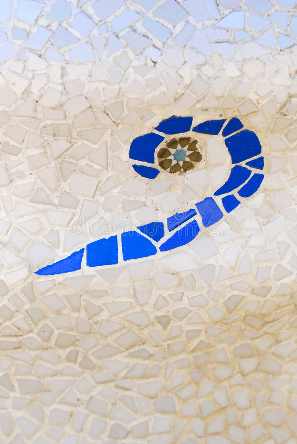 Ceramic mosaic by Gaudi. A closeup of part of a ceramic mosaic by Gaudi, taken in Park Guell in Barcelona, Spain royalty free stock photo