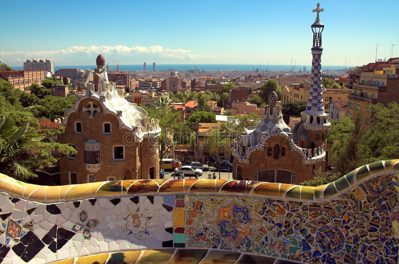 Ceramic mosaic in Park guell. Barcelona, Spain royalty free stock images