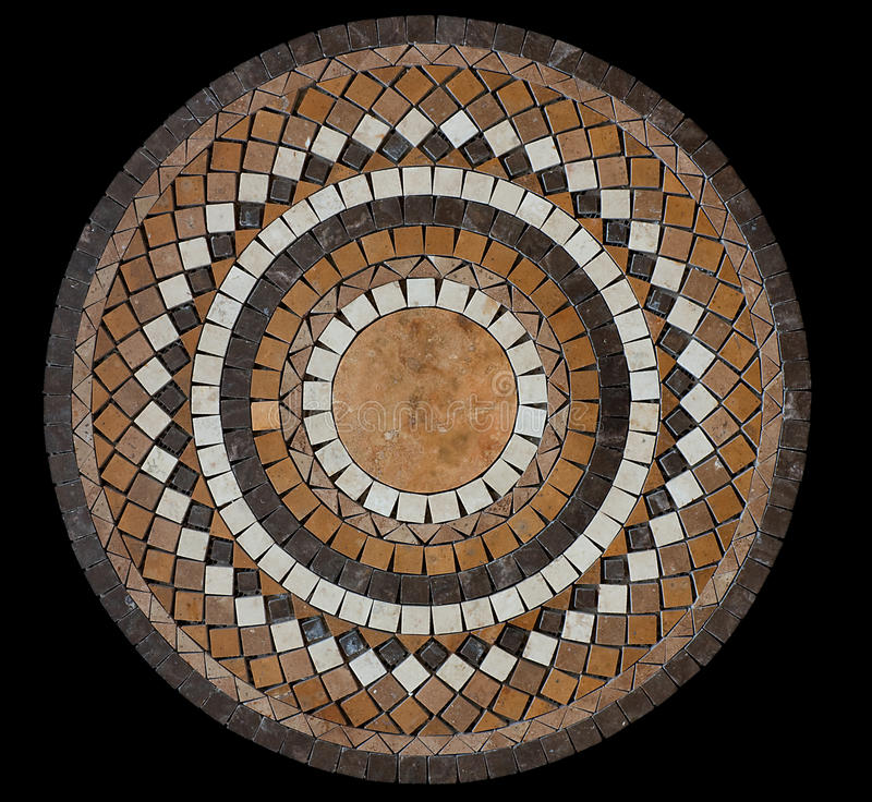 Ceramic mosaic tile. Medallion texture isolated on black background royalty free stock photos