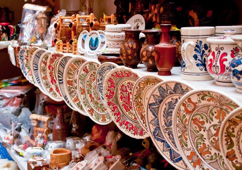 Ceramic plates and souvenirs stock photos